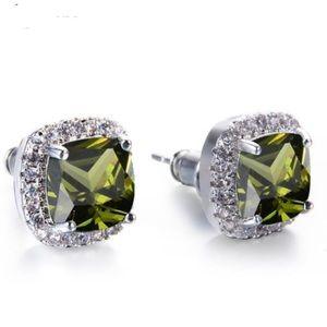 Olive Green Peridot Sterling Silver Stud Earrings